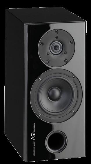 AQ Pontos 9  Mniejsza dwudrożna podstawkowa kolumna głośnikowa wyposażona w głośniki Scan-Speak, nadaje się do słuchania w bliskim polu i do mniejszych pomieszczeń do około 30 m2, moc 120W.  Pomimo że jest to jeden z najmniejszych modeli z serii Pontos, to oferuje doskonałą jakość dźwięku. Korpus wykonany jest z płyty MDF, sztywna obudowa o konstrukcji warstwowej, uzupełniona o system usztywnień wewnętrznych w kompaktowych wymiarach. Bassreflex znajduje się w dolnej części obudowy warstwowej i umożliwia umieszczenie głośnika w pobliżu ściany lub bezpośrednio przy ścianie. Maskownice są pokryte czarną tkaniną i są przymocowane za pomocą magnesów, w momencie ich usunięcia punkty mocowań są niewidoczne. Gniazda kolumny (terminal) są wyposażone w zaciski śrubowe, które umożliwiają połączenia bi-wiring i bi-amping. Zastosowane wewnętrzne przewody łączące, to kable amerykańskiej firmy AUDIOQUEST z serii Rocket 33. Stosując ten sam typ kabla do podłączenia kolumny do wzmacniacza zapewnimy maksymalną szczegółowość i dokładność w odtwarzaniu audio.  Oba zamontowane głośniki pochodzą z duńskich fabryk Scan-Speak. Obudowa kosza głośnika niskotonowego i membrana wykonana jest z włókna szklanego, zapewniają nawet przy stosunkowo niewielkiej objętości pełny i stały bas. Używany wysokotonowy jest taki sam jak w większych modelach z tej serii, a tym samym zapewnia takie same doskonałe warunki w wysokich częstotliwościach, dzięki specjalnej konstrukcji czaszy z rozszerzonym nabiegunnikiem, który zapewnia większy obszar odsłuchu niż zwykle ze standardowym kulowym.  Wykończeniem wszystkich systemów Pontos jest lakier fortepianowy wysokiej jakości, nanoszonym w ośmiu warstwach. Zwartość i warstwy lakieru mają pozytywny wpływ na sztywność obudowy. Zalecane jest umieszczanie systemu na odpowiednim stojaku, aby wyeliminować przenoszenie niepożądanych rezonansów. Montaż na ścianie jest możliwy, np. wykorzystując uchwytu BT77. System nadaje się do małych i średnich pomieszczeń. Ma dość uniw